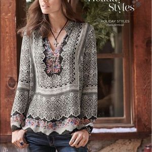 Sundance Catalog Silk Sequined Printed Sheer Top